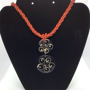 Jewelry - Yin Yang Pendant Necklace Red Bead Button Closure